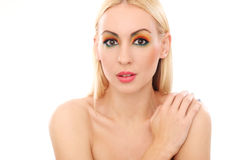 Blonde woman showing her cute colored look Stock Image