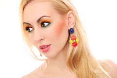 Blonde woman showing her cute colored look Royalty Free Stock Photo