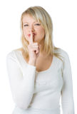 Blonde woman with silence sign Stock Image