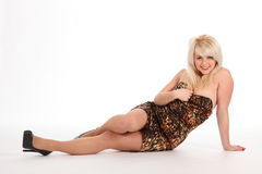 Blonde Woman Sitting Of Floor In Short Dress Royalty Free Stock Photo