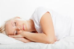 Blonde woman sleeping Royalty Free Stock Image