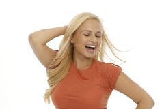 Blonde woman smiling happy Stock Image