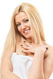 Blonde woman in spa towel Stock Photography