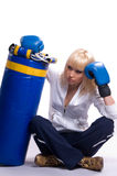Blonde woman in sports Stock Photography