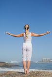 Blonde woman standing on beach on rock Royalty Free Stock Images