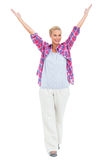 Blonde woman standing with hands up Royalty Free Stock Photos