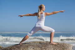 Blonde woman standing in warrior pose on beach on rock Stock Photo