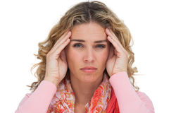 Blonde woman suffering with headache Stock Photos