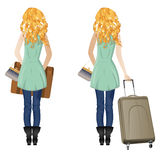 Blonde Woman with Suitcase Stock Image