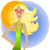 Blonde Woman and Sunglasses royalty free illustration