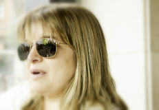 Blonde woman sunglasses Royalty Free Stock Photos