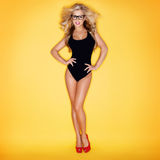 Blonde Woman In Swimsuit Wearing Eyeglasses Stock Photos