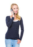 Blonde woman talk to mobile phone Stock Image