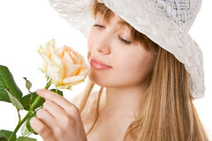 Blonde woman with tea rose Stock Photos