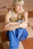 Blonde woman thinking royalty free stock photos