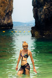 Blonde woman on the tropical beach. Hong island, Andaman Sea, Thailand Royalty Free Stock Photo