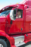 Blonde Woman truckdriver Stock Photography