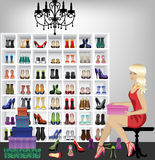 Blonde woman trying on shoes in boutique. Rich beautiful fashion blonde woman trying on shoes in boutique . Fitting shoes in shop Royalty Free Stock Photography