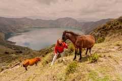 Blonde Woman With Two Horses stock photos