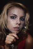Blonde woman in veil Stock Photo