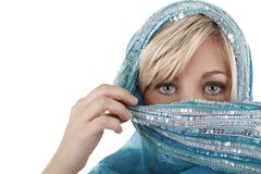 Blonde woman with veil. Isolated on white Royalty Free Stock Photo