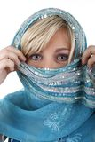 Blonde woman with veil. Isolted on white stock image