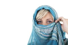 Blonde woman with veil looking sideways. Blonde woman with veil isolated on white Royalty Free Stock Photography
