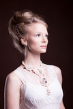 Blonde woman in vintage victorian dress Royalty Free Stock Image