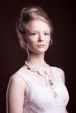 Blonde woman in vintage victorian dress Royalty Free Stock Photos