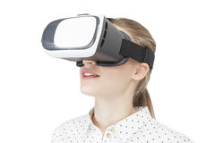 Blonde woman in vr glasses, isolated Royalty Free Stock Photo
