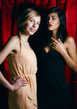 Blonde woman vs brunette, war of antipodes Royalty Free Stock Photos