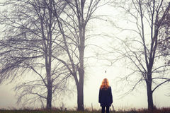 Blonde woman on walk royalty free stock images