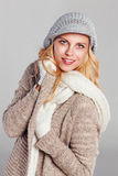 Blonde woman in warm fall fashion Stock Photo