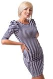 Blonde woman wearing striped dress Royalty Free Stock Images