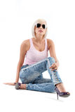 Blonde woman wearing sunglasses Stock Photography