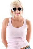 Blonde Woman Wearing Sunglasses Stock Image