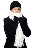 Blonde woman with a white scarf royalty free stock photos