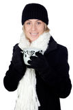 Blonde woman with a white scarf drinking Royalty Free Stock Photography