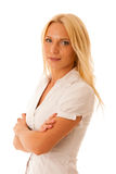 Blonde woman in white shirt blue jeans isolated over white backg Royalty Free Stock Images