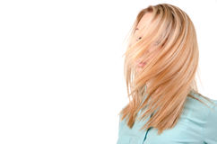 Blonde woman with the wind in her Royalty Free Stock Photos