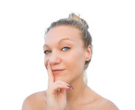 Blonde woman wink. Stock Image