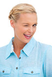 Blonde woman winking Royalty Free Stock Photo