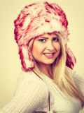 Blonde woman in winter furry hat Royalty Free Stock Image