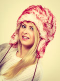 Blonde woman in winter warm furry hat Royalty Free Stock Photos