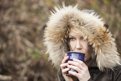 Free Blonde Woman With Beautiful Blue Eyes Drinking Coffee Stock Image - 29472741
