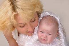 Blonde Woman With Her Baby Royalty Free Stock Image
