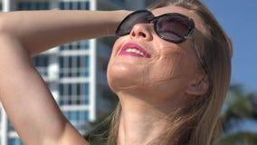 Blonde Woman, Women, Apartment Complex stock video