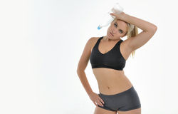 Blonde woman - workout Royalty Free Stock Images