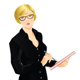 Blonde woman writing the document. Young blonde woman in black shirt writing the document. Serious woman in glasses Royalty Free Stock Photo