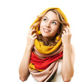 Blonde Woman in Yellow Hood. Isolated on White. Stock Images